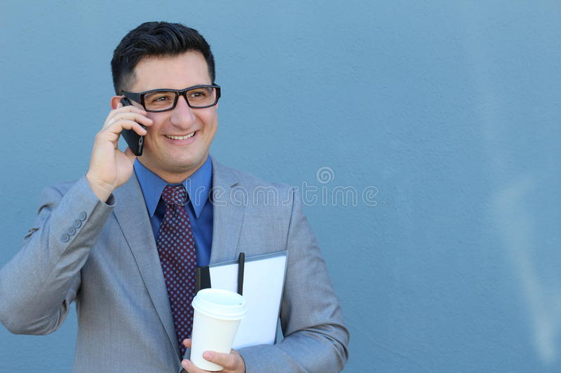 Formal successful businessman calling by phone - Stock image.  stock images