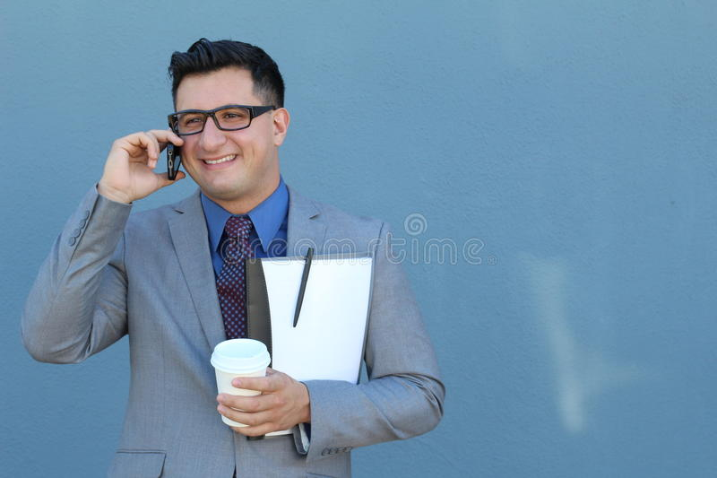 Formal successful businessman calling by phone - Stock image with Copy Space.  royalty free stock photography