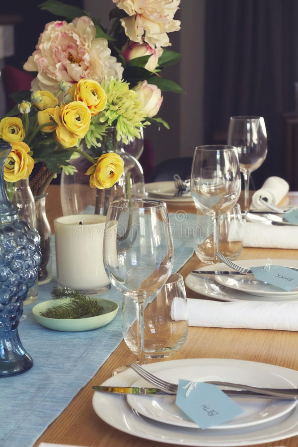 Formal Table Setting For Lunch Or Dinner With Flowers Centrepiec ...