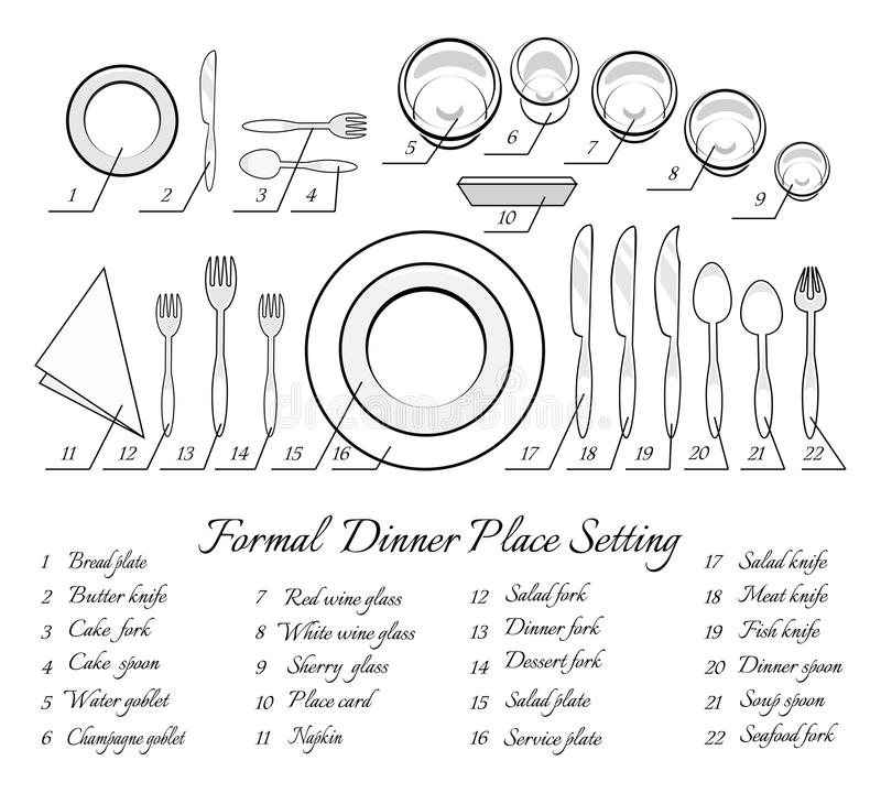 Formal table setting stock vector. Illustration of soup - 48901274