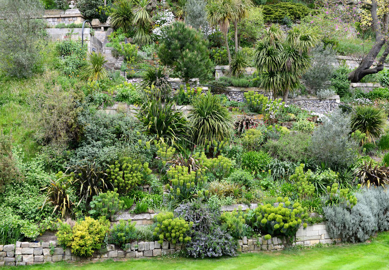 Formal tiered rockery with stone walls royalty free stock images