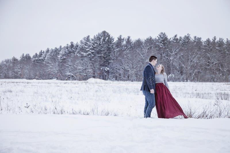 Formale Paare draußen im Winterschnee stockfotos