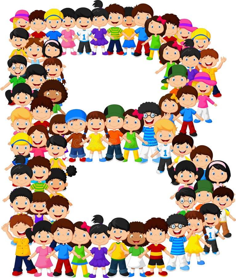 Formalfabet B för små ungar stock illustrationer