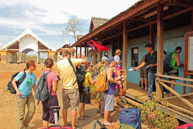 Formalities at Border Cambodia - Laos stock images