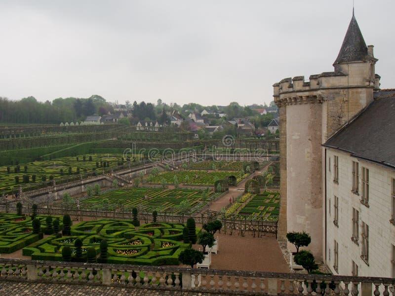 Formalni ogródy przy Villandry górską chatą w Loire dolinie Francja fotografia royalty free