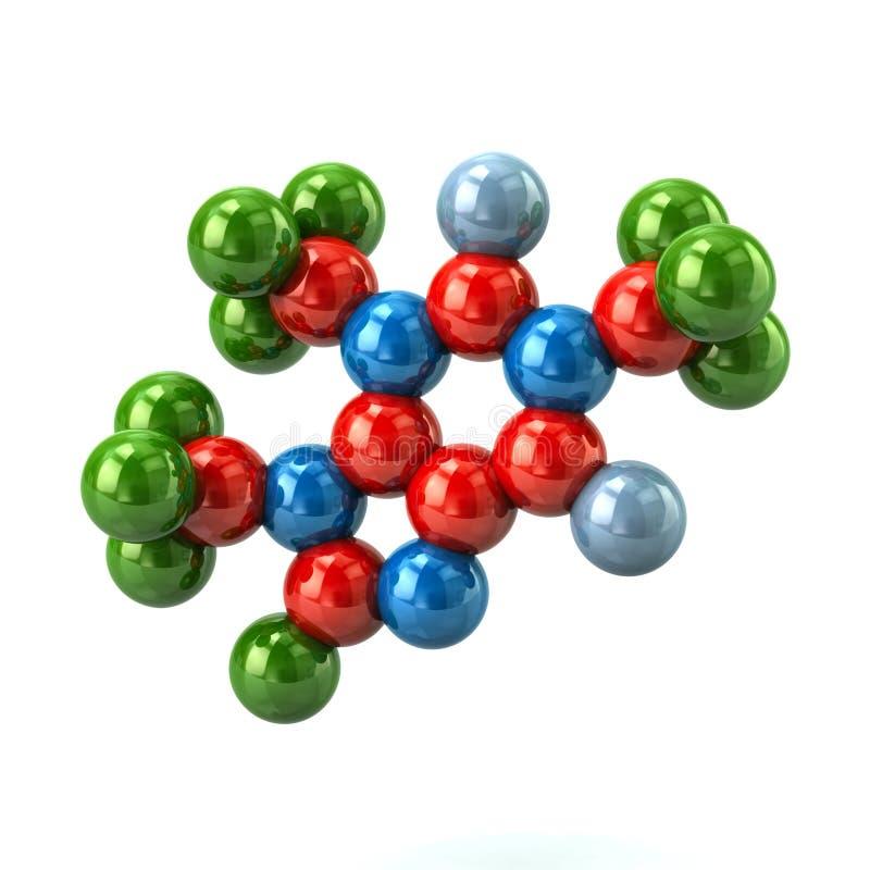 Formalnie model kolorowa kofeiny molekuły 3d ilustracja ilustracja wektor