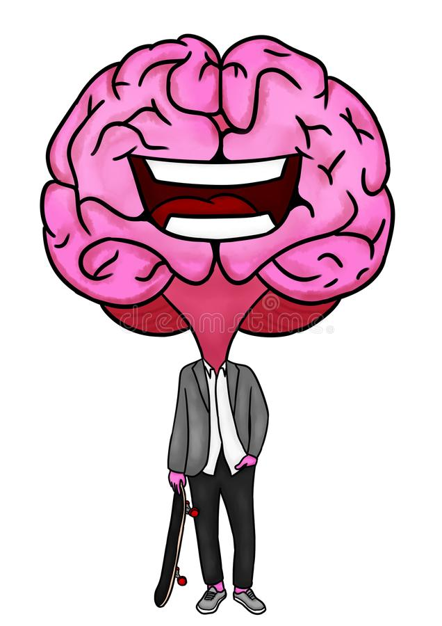 Formalny postać z kreskówki mózg z deskorolka zdjęcie stock