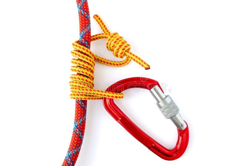 Formando um nó de Autoblock igualmente chamou Machard ou Prusik francês com um cabo do acessório de 5mm em torno de uns 9 corda d fotos de stock royalty free