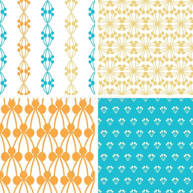 Formar abstrakt blått gult bär fyra sömlöst vektor illustrationer
