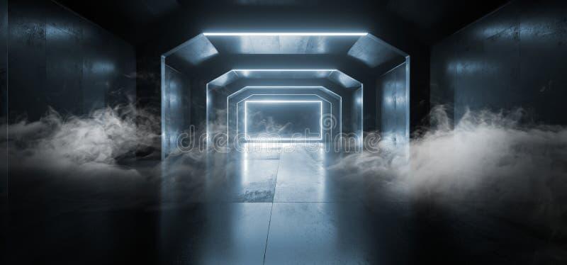 Formar den blåa glödande rektangeln rökSci Fi för framtida neon den tomma mörka rymdskepptunnelen som underjordiska vibrerande la vektor illustrationer