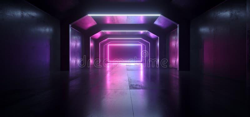 Formar den blåa glödande rektangeln Sci Fi för framtida neonlilor den tomma mörka rymdskepptunnelen som underjordiska vibrerande  royaltyfri illustrationer