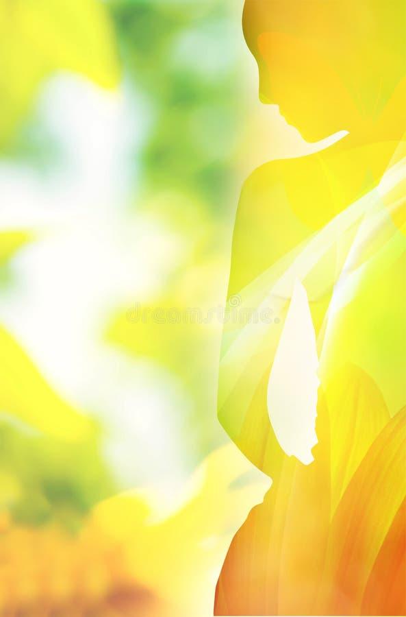 Formar den färgrika kvinnan för våren ståenden royaltyfri illustrationer