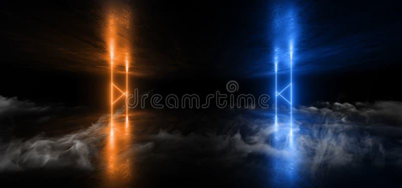 Formar den faktiska Sci Fi för rökneonljus futuristiska vibrerande orange blåa glödande laserstrålen den mörka tunnelbanan för Gr royaltyfri illustrationer