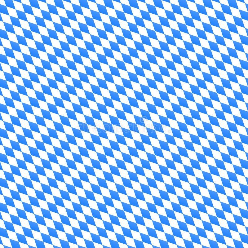 Formar den sömlösa modellen för den Oktoberfest vektorn med den diagonala diamanten Blå och vit bakgrund för bavarianfestivalbane vektor illustrationer