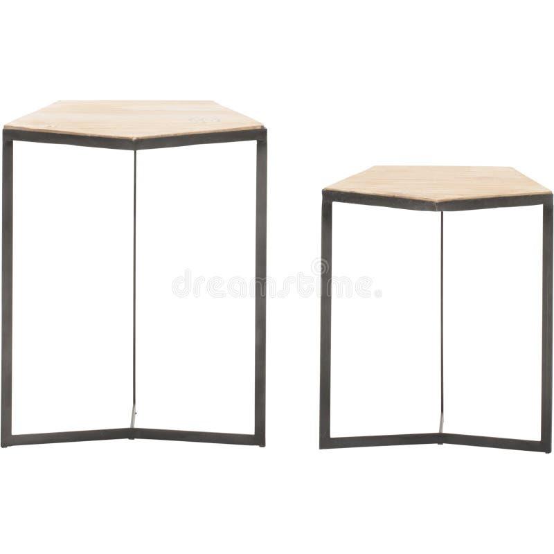 Formar den utomhus- tabellen f?r naturlig fiber, det vita marmorkornkorset den runda kaffetabellen, liten runda f?r telefontabell royaltyfri bild