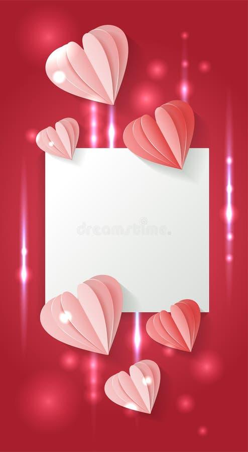 Formar vertikal bakgrund f?r valentindagen med pappers- r?da och rosa hj?rtor f?r snittet modellen Vektorvolymillustration med sk stock illustrationer