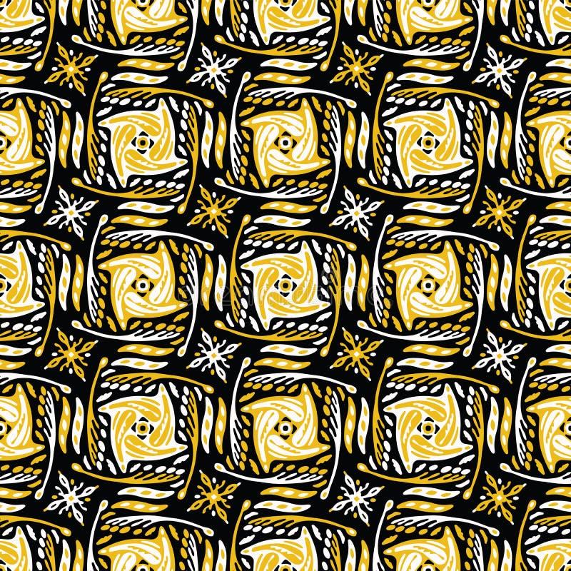 Formas abstractas amarillas y negras de la rejilla del garabato stock de ilustración