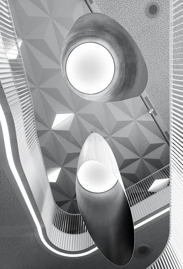 Formas abstractas blancos y negros del interior moderno foto de archivo