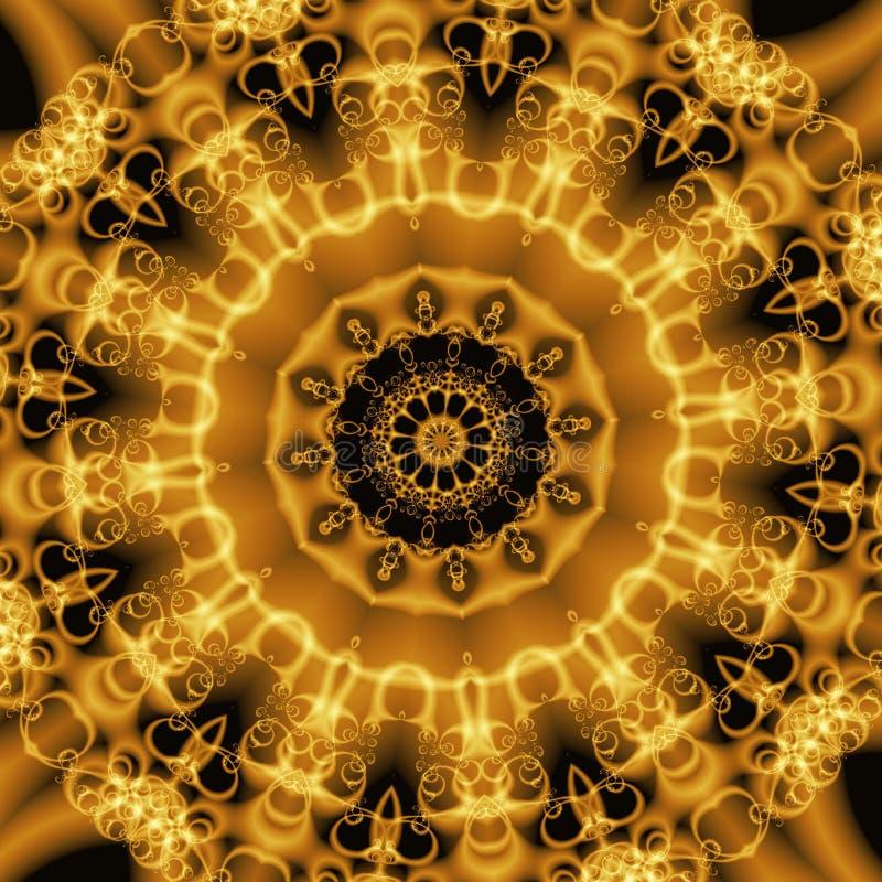 Formas abstractas de oro, fractal ilustración del vector