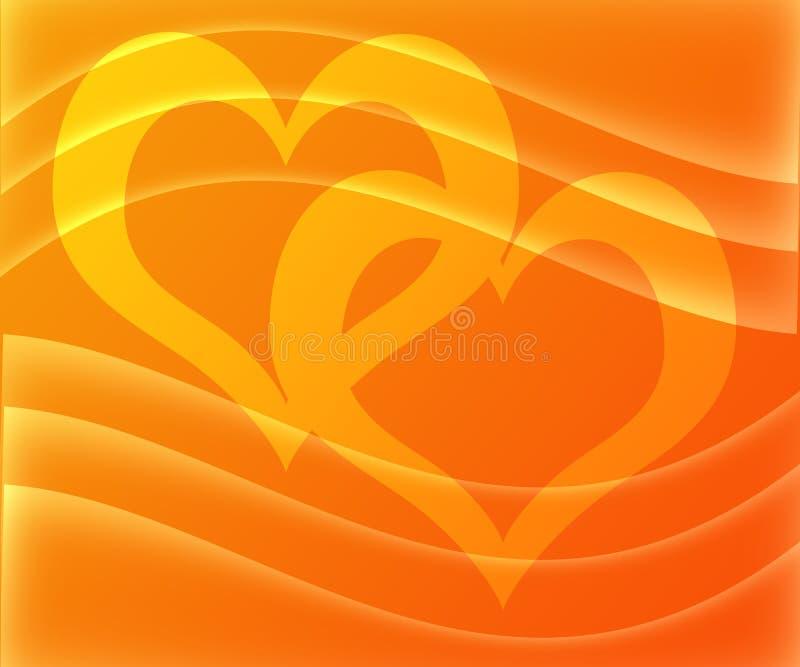 Formas abstractas del corazón en el día de tarjeta del día de San Valentín amarillo-naranja del amor de la pendiente del color ilustración del vector