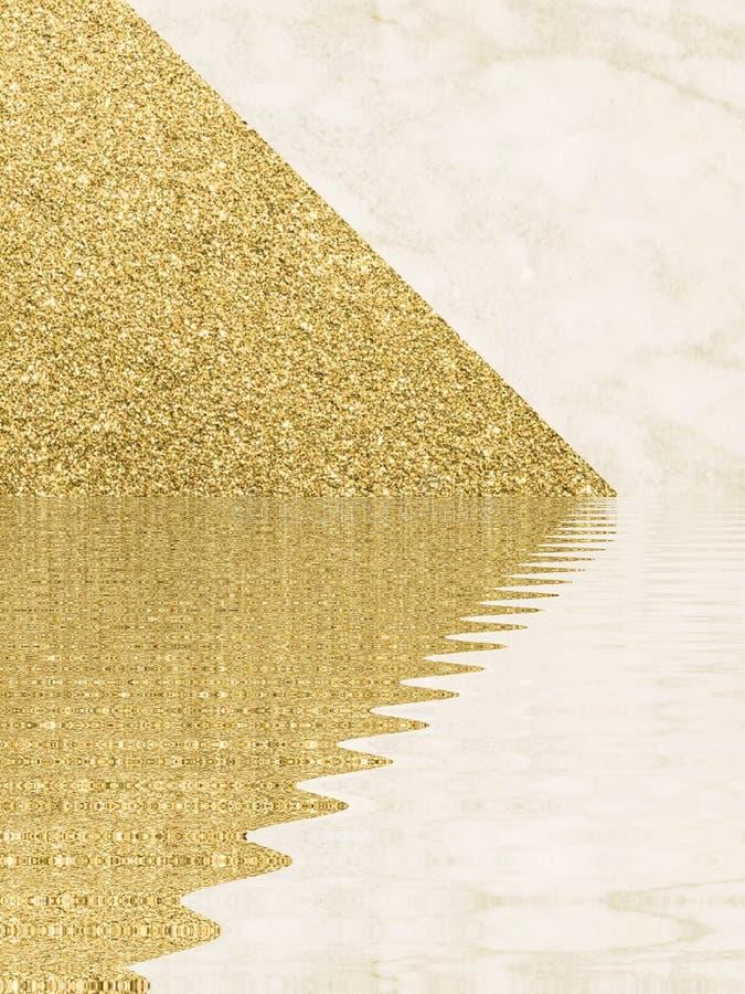 Formas abstratas de design de material de poeira dourada ilustração stock