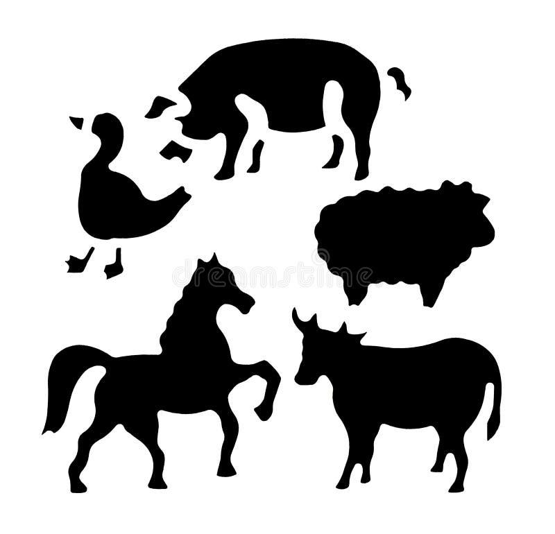 Formas animais do estêncil ilustração royalty free