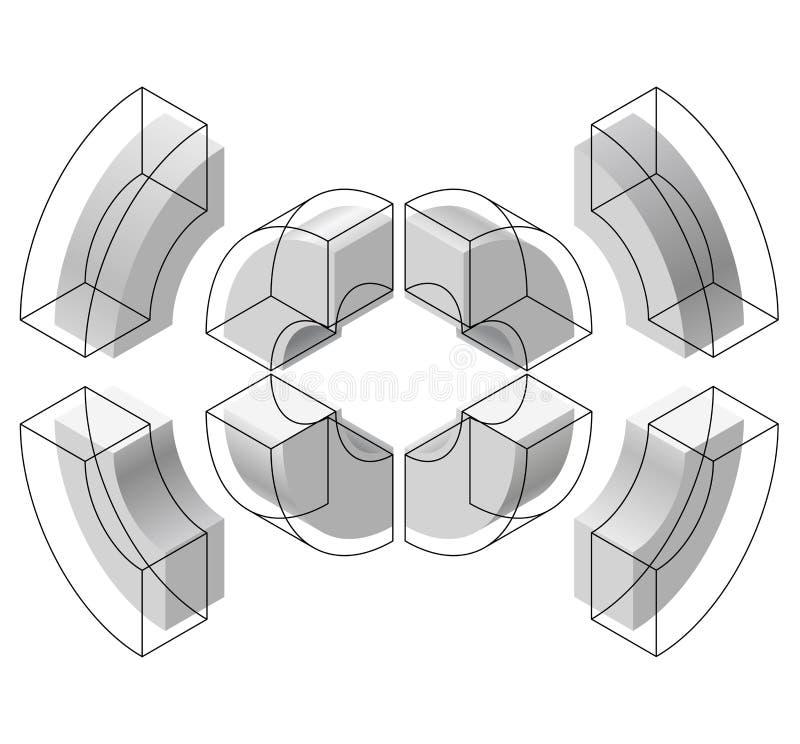 Formas arqueadas en la perspectiva isométrica, aislada en el fondo blanco Unidades de creación básicas para crear los objetos abs stock de ilustración