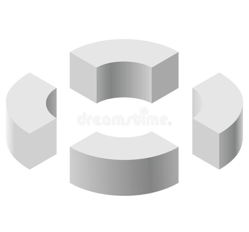 Formas arqueadas na perspectiva isométrica, isolada no fundo branco Blocos de apartamentos básicos para criar objetos abstratos,  ilustração do vetor