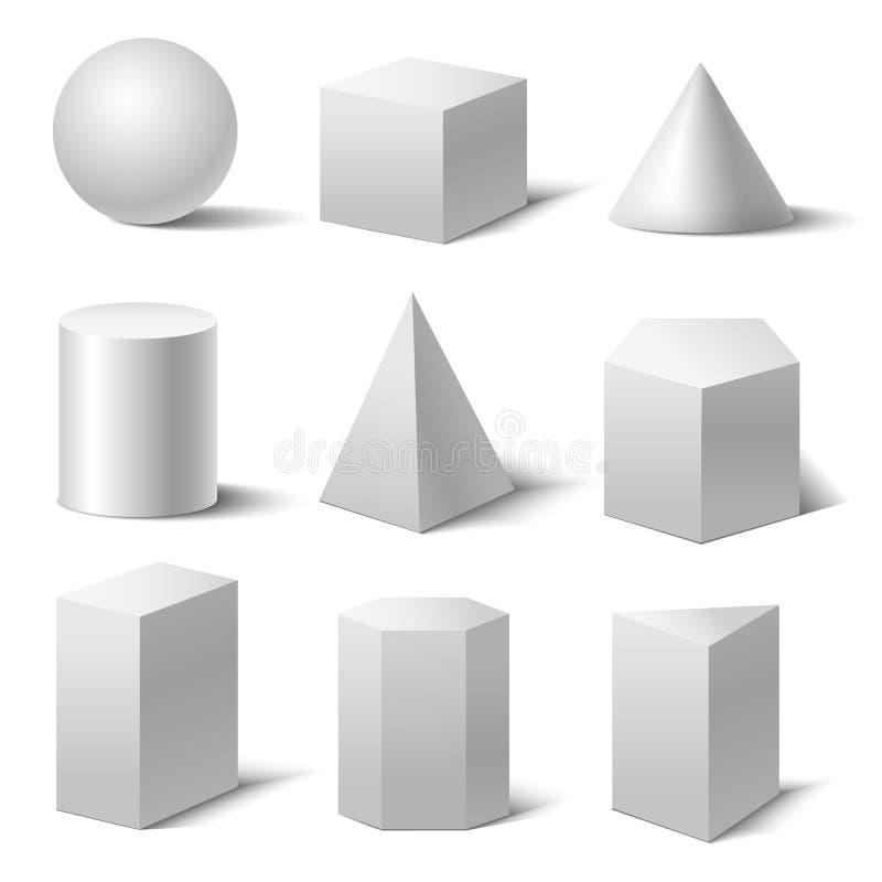 Formas básicas blancas detalladas realistas 3d fijadas Vector stock de ilustración