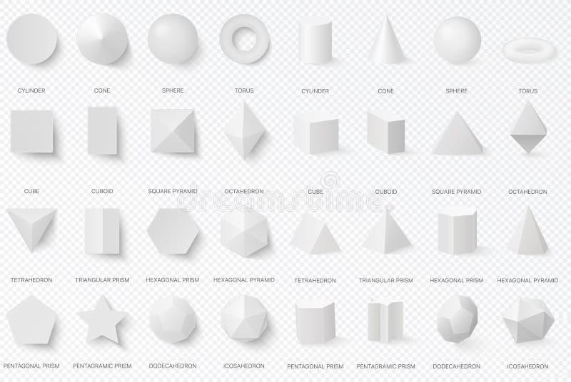 Formas básicas blancas realistas 3d en la vista delantera superior y aislada en el fondo transperant alfa ilustración del vector