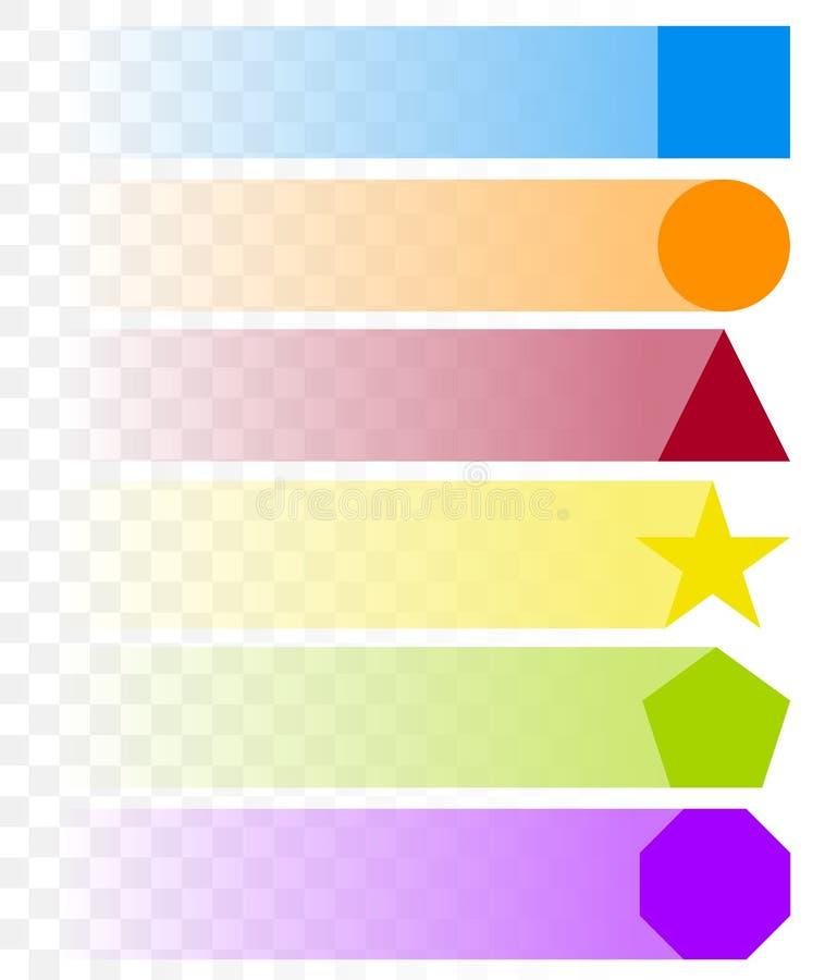 Formas básicas en diverso color con el descoloramiento, rastros transparentes stock de ilustración