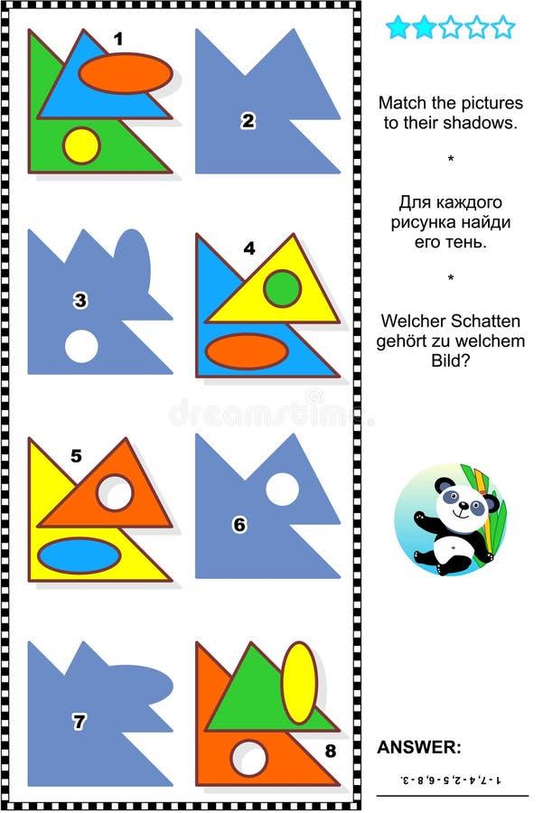 Formas básicas que aprendem o enigma do visual da matemática ilustração stock