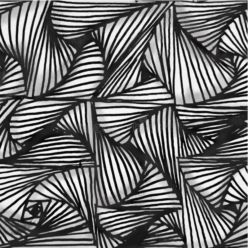 Formas blancos y negros dibujadas mano abstracta del modelo del fondo con el efecto 3D stock de ilustración