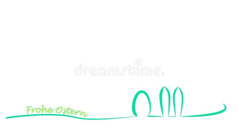 Formas caligráficas de um ovo da páscoa e de um coelho de easter ilustração royalty free