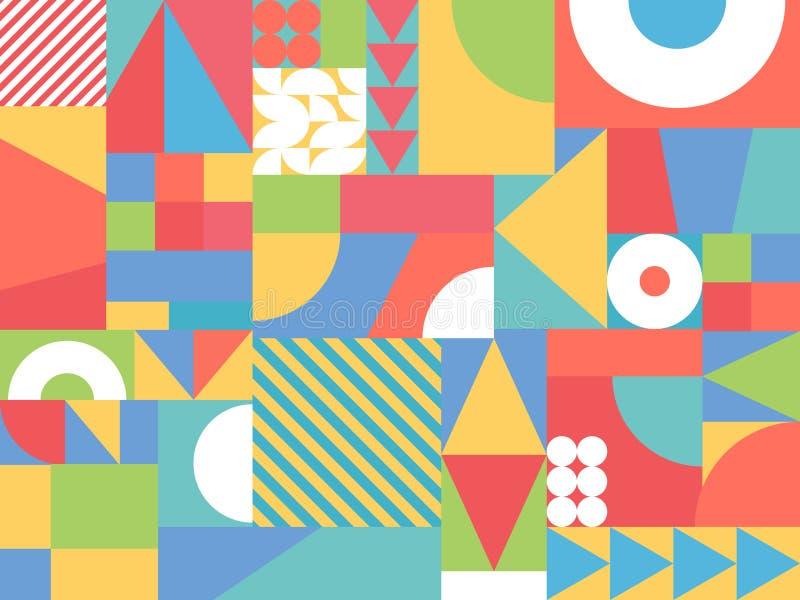 Formas coloridas al azar abstractas Fondo geométrico del color Elementos decorativos del diseño Contexto retro Ilustración del ve ilustración del vector