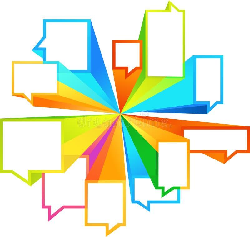 Formas coloridas do callout ilustração stock