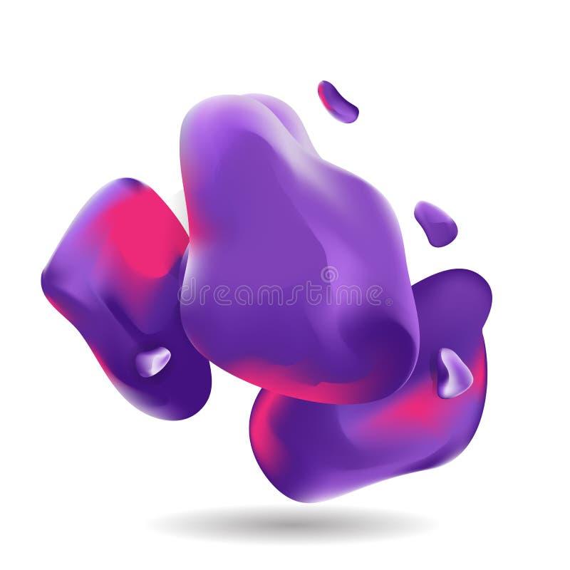 Formas coloridas líquidas, roxo futurista, backgroun de néon violeta ilustração royalty free