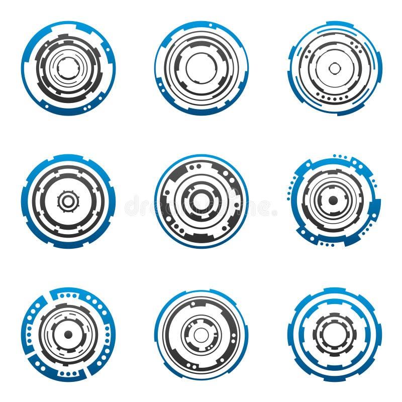 Formas concêntricas da engrenagem ilustração do vetor