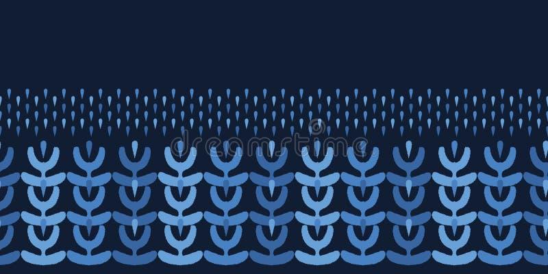 Formas cortadas orgánicas del extracto de los azules añiles Fondo inconsútil del modelo de la frontera del vector Papel de la man ilustración del vector