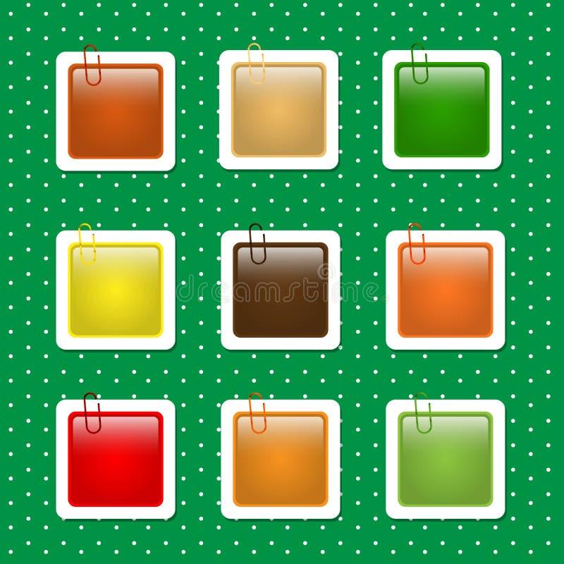 Formas cuadradas de la etiqueta engomada en Autumn Colors ilustración del vector