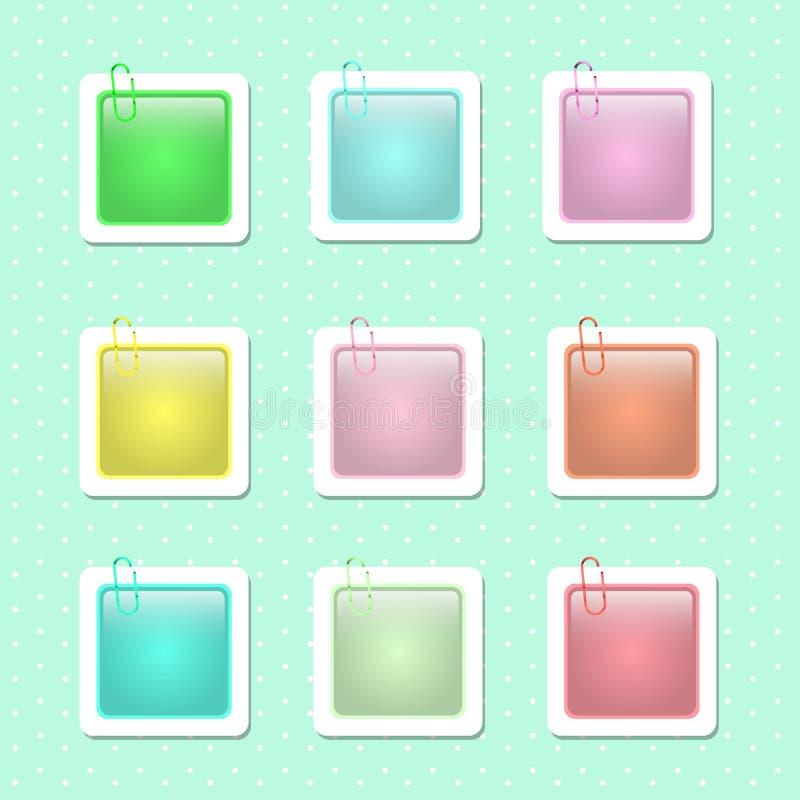 Formas cuadradas de la etiqueta engomada en colores en colores pastel libre illustration