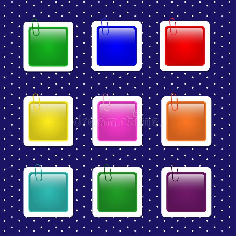 Formas cuadradas de la etiqueta engomada en colores en colores pastel stock de ilustración