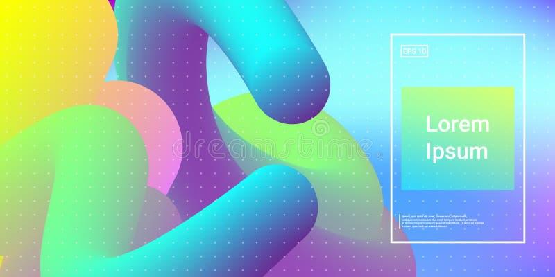 Formas 3D dinâmicas modernas mínimas com efeito do fulgor da cor ilustração stock