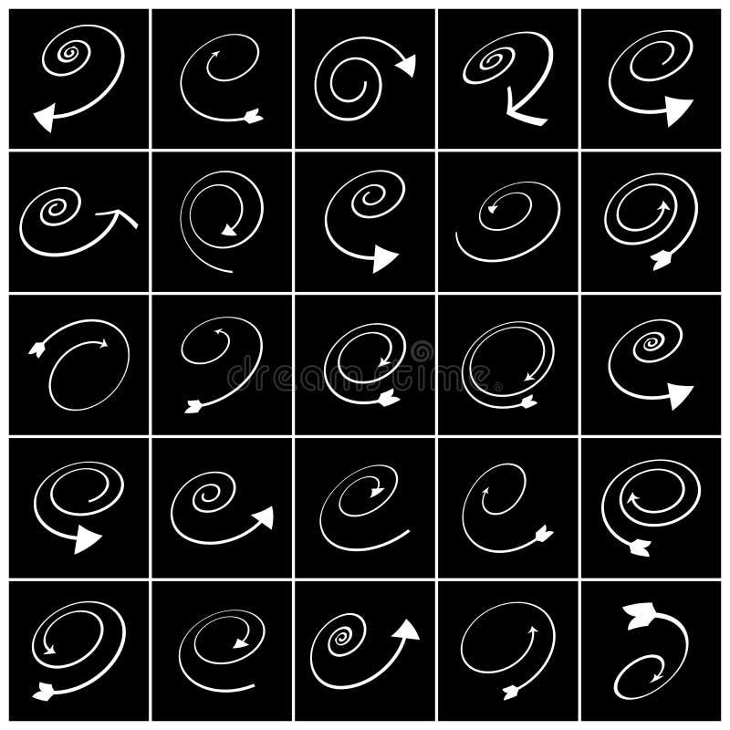 Formas da espiral e da seta Projete o jogo de elementos Símbolos brancos no fundo preto ilustração do vetor