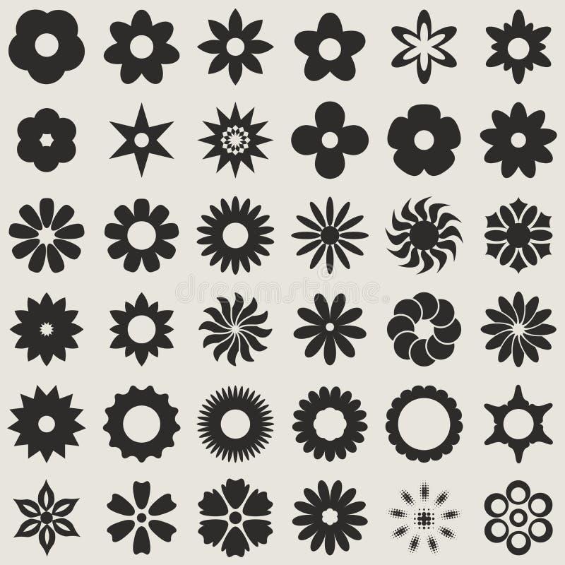 Formas da flor em botão ilustração do vetor
