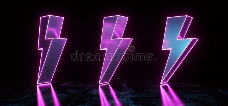 Formas de alto voltaje púrpuras de neón del rayo moderno futurista de Sci que brillan intensamente Fi en el sitio reflexivo concr stock de ilustración
