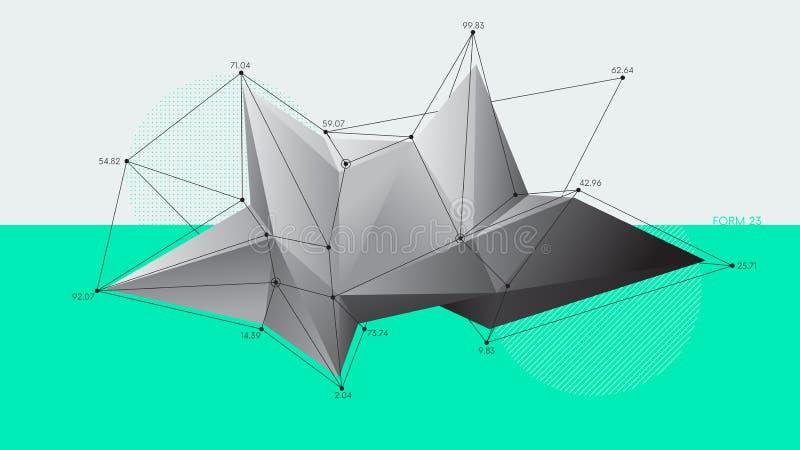 Formas de cristal modernas do baixo polígono abstrato, fundo futurista do vetor ilustração stock