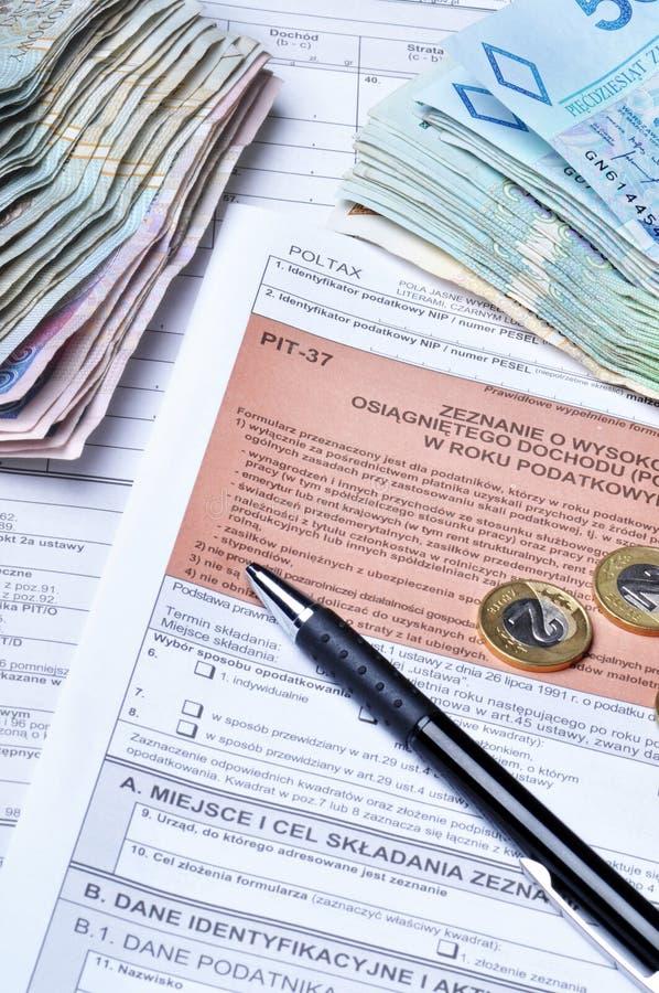 Formas de impuesto polacas imagen de archivo libre de regalías