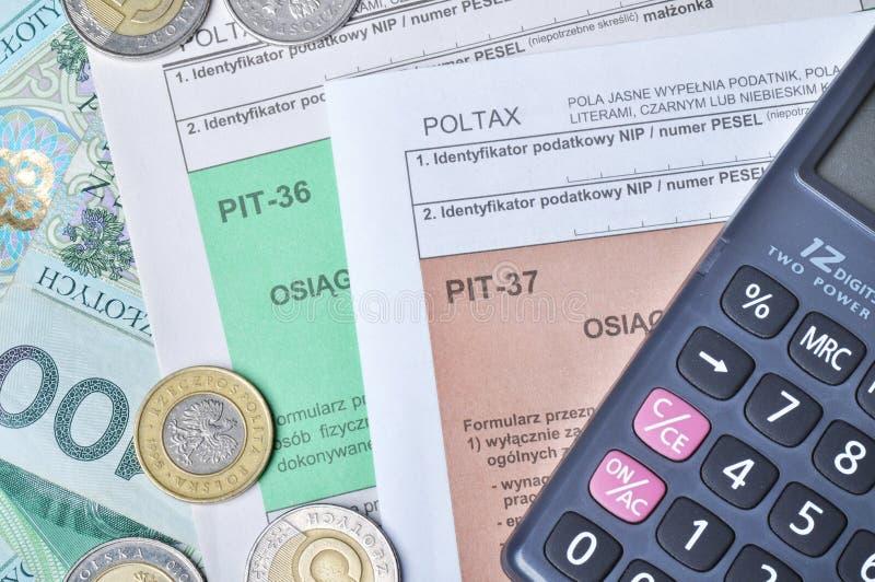 Formas de impuesto polacas fotografía de archivo libre de regalías