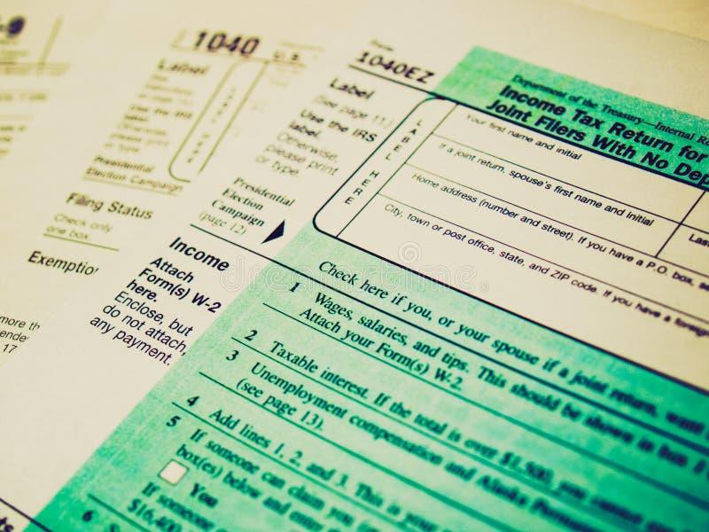 Formas de impuesto retras de la mirada imagen de archivo